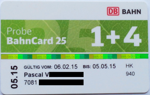 Foto: Probe BahnCard 25 1+4