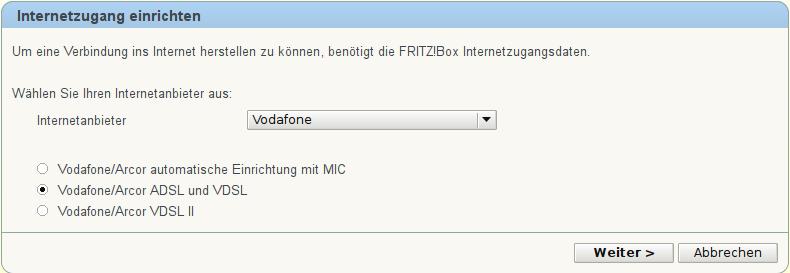 Screenshot: FRITZ!Box: Internetzugang einrichten: Schritt 1