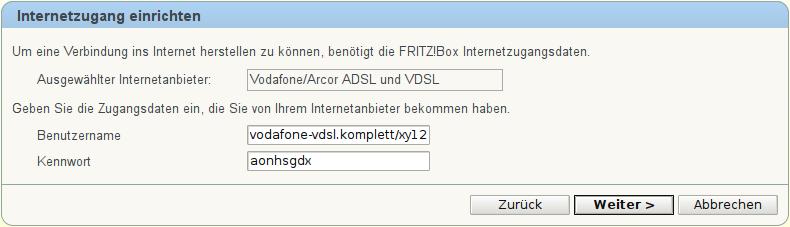 Screenshot: FRITZ!Box: Internetzugang einrichten: Schritt 2