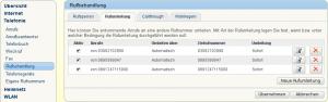 Screenshot: FRITZ!Box Konfiguration: Telefonie/Rufbehandlung/Rufumleitung