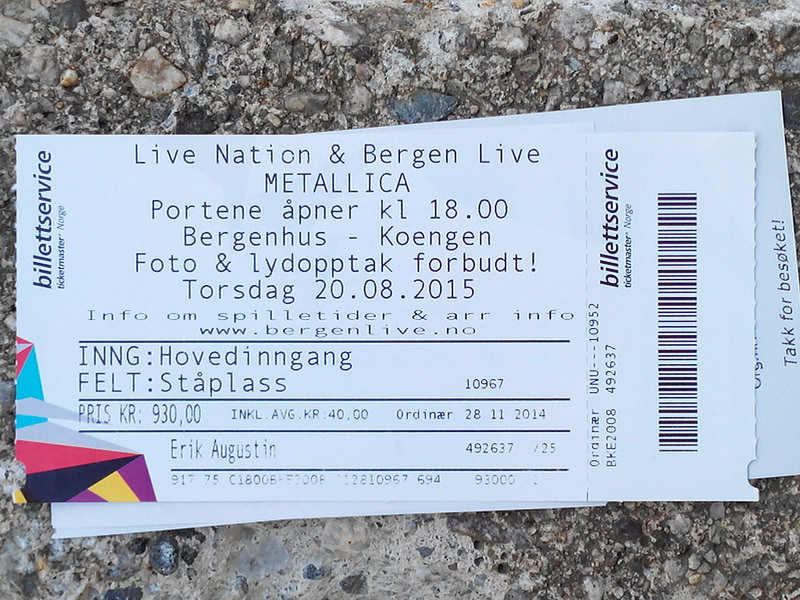 Photo: Karte für das Metallica-Konzert am 2015-08-20 in Bergen/Norwegen
